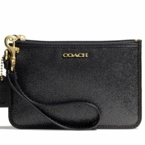 COACH BLACK SPARKLY WRISTLET WITH TWO CARD SLOTS